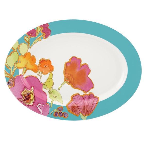 Lenox Floral Fusion Aqua Oval Platter