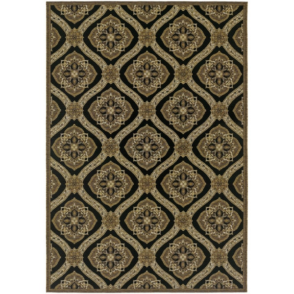 """Couristan Dolce Napoli Black-Gold Indoor/Outdoor Area Rug - 8'1"""" x 11'2"""""""