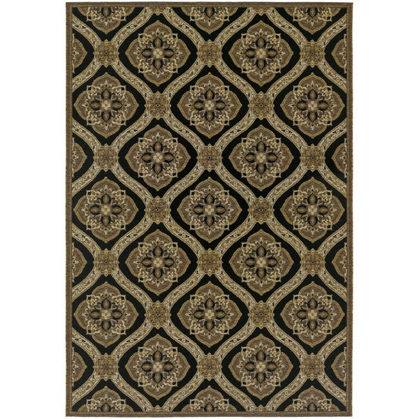 Dolce Napoli Black-Gold Indoor/Outdoor Area Rug - 8'1 x 11'2