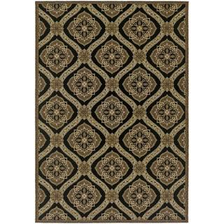 Dolce Napoli/ Black-Gold Area Rug (5'3 x 7'6)