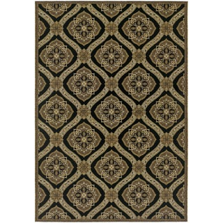 Couristan Dolce Napoli/ Black-Gold Indoor/Outdoor Rug - 5'3 x 7'6