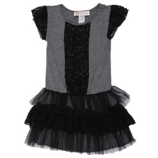 Paulinie Collection Girls' Flower Mesh Short Sleeve Dress