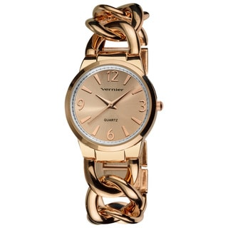 Vernier Ladies Fashion Rose Gold Tone Oversized Interlocking Link Bracelet Quartz Watch