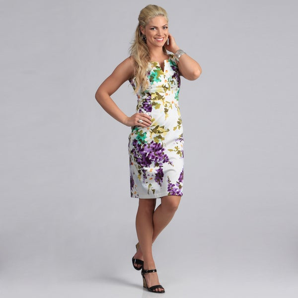 London Times Purple Floral Printed Sheath Sundress