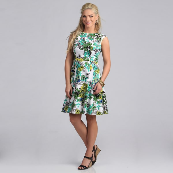Shop London Times Women's Green Floral Fit and Flare Dress ...