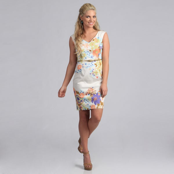 London Times Women's Floral Print Belted Sheath Dress