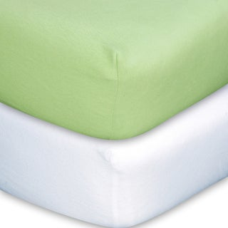 Trend Lab Sage/ White Flannel Crib Sheet Set (Pack of 2)