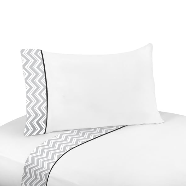 Sweet JoJo Designs 200 Thread Count Black and Grey Zig Zag Sheet Set