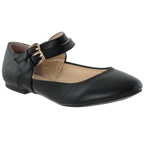 Riverberry Women's 'Mary Jeans' Black Double-Strap Flats