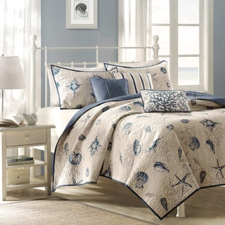Madison Park Nantucket Blue Microfiber Brushed Printed Coverlet Set (3 options available)