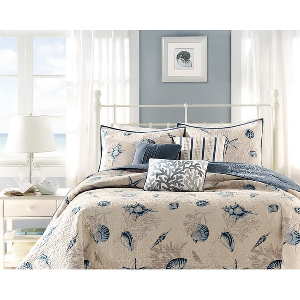 Madison Park Nantucket Blue Microfiber Brushed Printed Coverlet Set