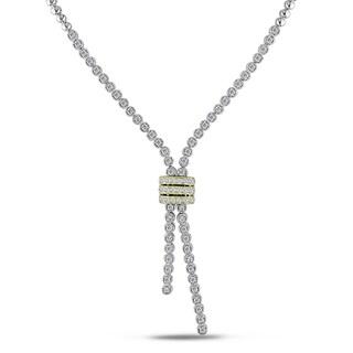 Miadora Signature Collection 14k White Gold 1 1/2ct TDW Diamond Lariat Necklace