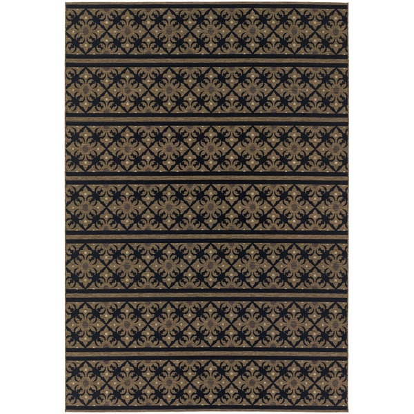 Dolce Casatta/ Gold-Black Area Rug (7'10 x 10'9)