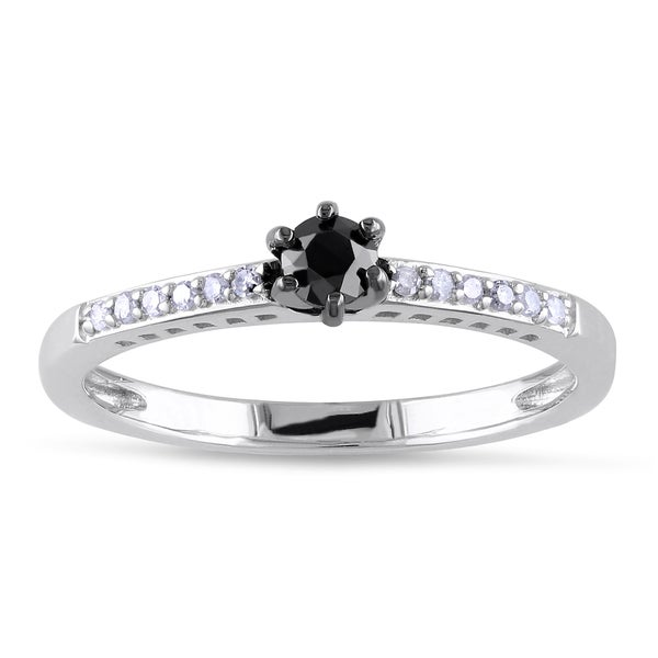 Sterling Silver 1/4ct TDW Black and White Round-cut Diamond Ring