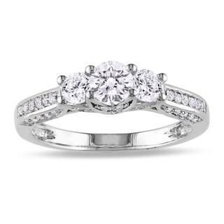 Miadora 14k White Gold 1ct TDW Diamond Three Stone Ring