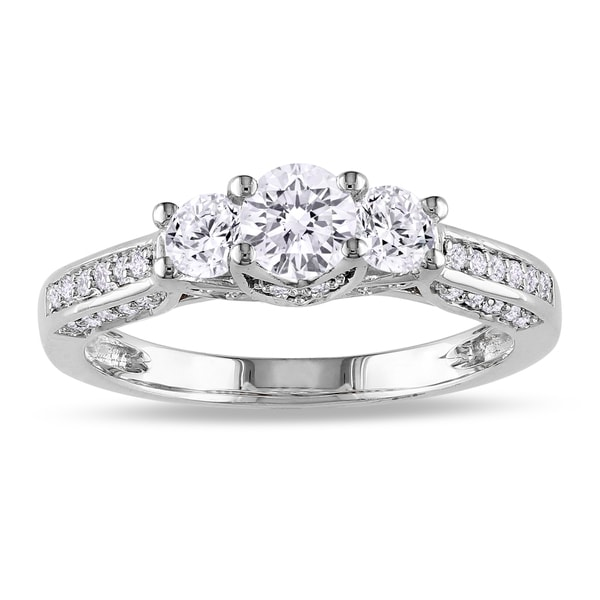 Miadora 14k White Gold 1ct TDW Diamond Three Stone Ring (G-H, I1-I2)