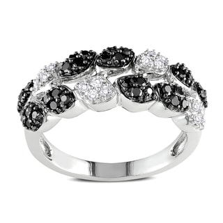 Miadora 14k White Gold 1/2ct TDW Black and White Diamond 2-Row Ring