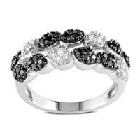 Miadora 14k White Gold 1/2ct TDW Black and White Diamond 2-Row Ring