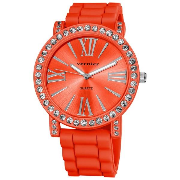 Vernier Ladies Oversized Crystal Bezel Roman-Numeral Silicone Strap Quartz Two-Tone Fashion Watch