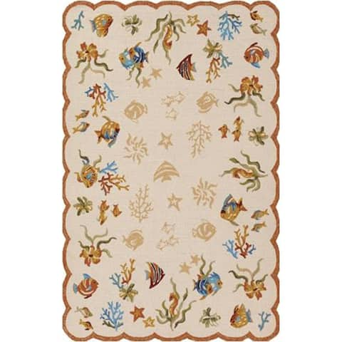 Couristan Outdoor Escape Coral Dive Sand Indoor/Outdoor Area Rug - 2' x 4'