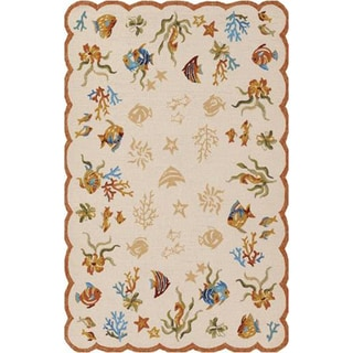 Outdoor Escape Coral Dive/ Sand Area Rug (5'6 x 8')