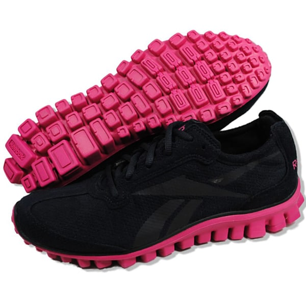 reebok womens realflex run black and pink running shoes