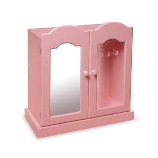 Pink Mirrored Doll Armoire with 3 Baskets and 3 Hangers