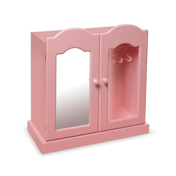 Shop Pink Mirrored Doll Armoire with 3 Baskets and 3 ...