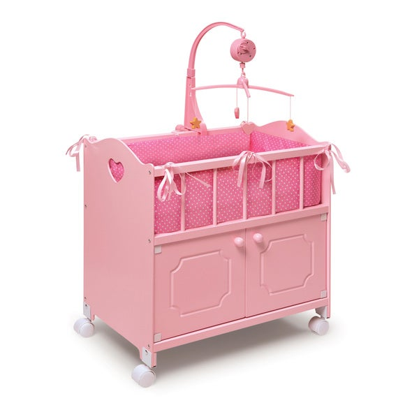 Pink Doll Crib with Mobile