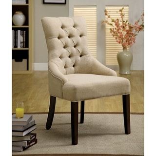 Furniture of America Bielson Tufted Ivory Accent Dining Chair (Set of 2)
