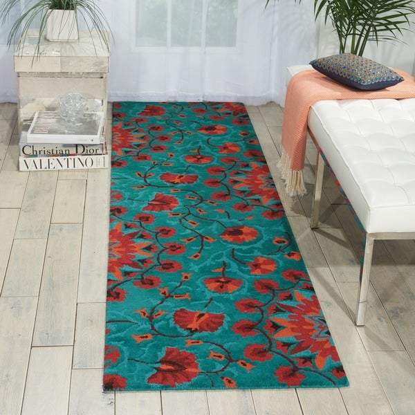 Shop Hand-tufted Suzani Teal Floral Bloom Rug (2'3 X 8