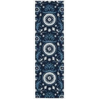 Hand-tufted Suzani Navy Floral Medallion Rug (2'3 x 8')