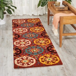 Hand-tufted Suzani Red Medallion Rug (2'3 x 8')