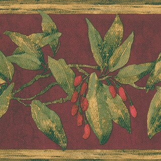 Burgundy Berry Border Wallpaper
