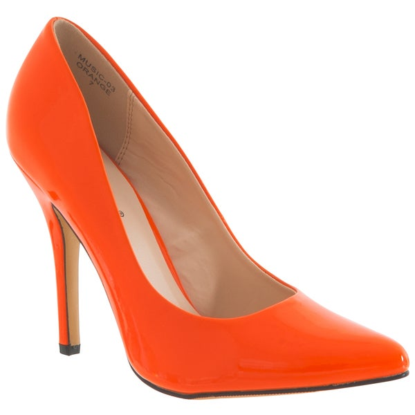 Riverberry Women's 'Music' Orange Pointed-Toe Patent Stiletto Pumps