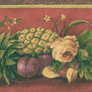 Maroon Fruit Border Wallpaper