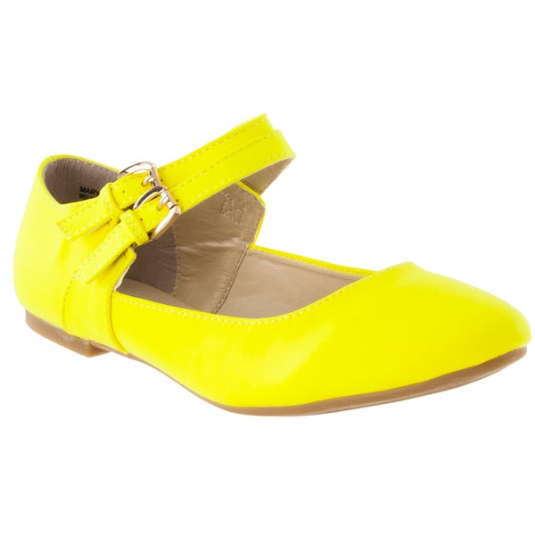 Riverberry Women's 'Mary Jeans' Yellow Double-Strap Flats