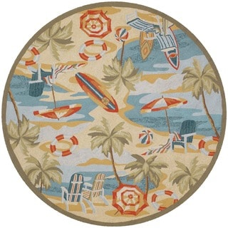 """Picadilly Pebble Beach Sand Indoor/Outdoor Round Rug - 7'10"""" Round"""