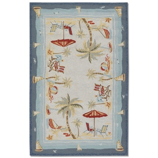 Outdoor Escape Cocoa Beach Hand-hooked Rug (5'6 x 8')