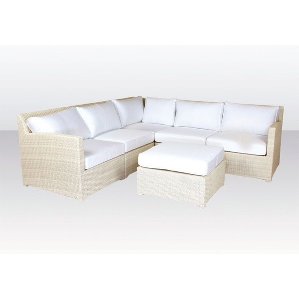 New Eagle White Wash Sectional Sofa with Ottoman