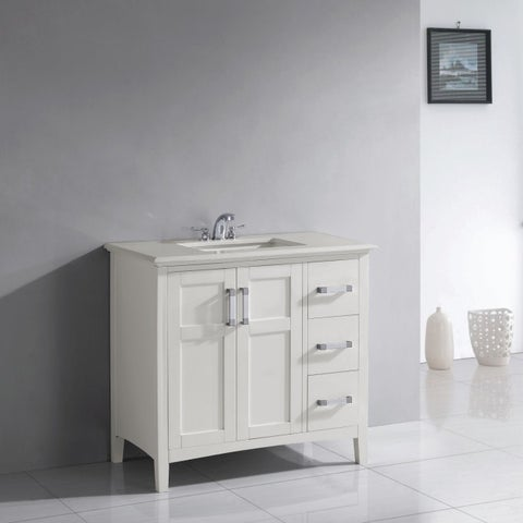 WYNDENHALL Salem 36-inch White Quartz Marble Top Single Sink Bathroom Vanity