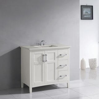 WYNDENHALL Salem 36-inch White Quartz Marble Top Single Sink Bathroom Vanity