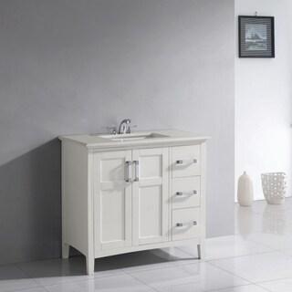WYNDENHALL Salem 36 Inch White Quartz Marble Top Single Sink Bathroom Vanity