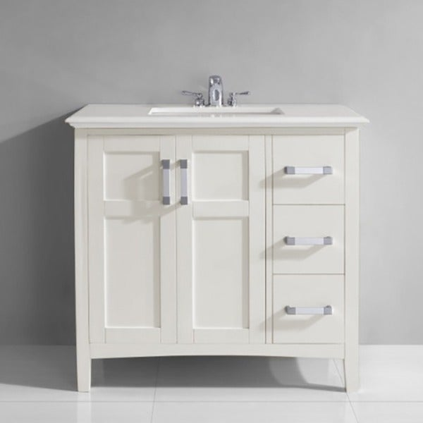 WYNDENHALL Salem 36 Inch White Quartz Marble Top Single Sink Bathroom Vanity    Free Shipping Today   Overstock.com   15220398