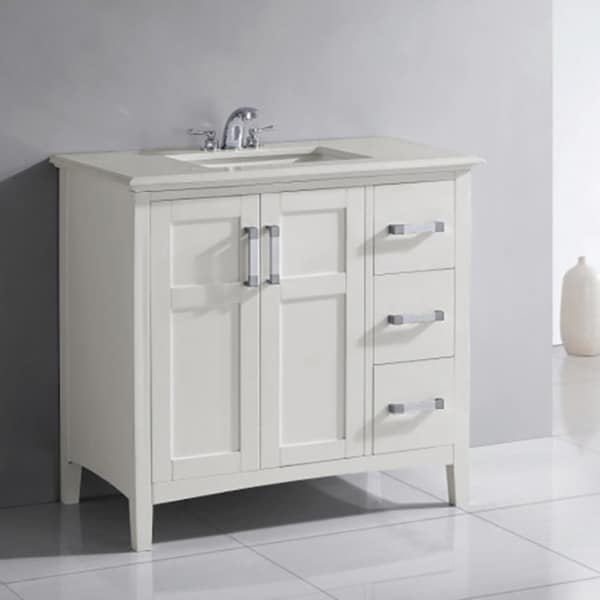 WYNDENHALL Salem 36 Inch White Quartz Marble Top Single Sink Bathroom Vanity