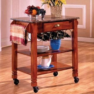 Oak Caster Marble Veneer Kitchen Cart