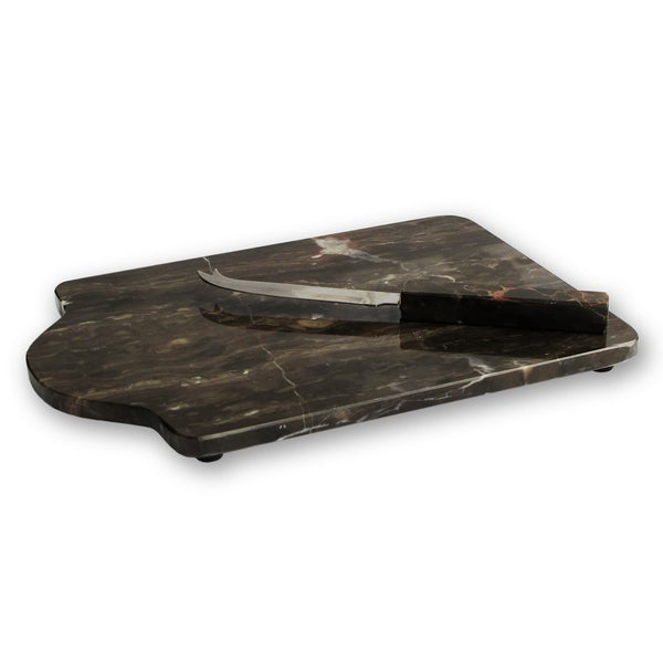 American Atelier Brown Marble Cutting Board and Knife
