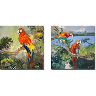 Jane Slivka 'Parrots at Bay I and II' 2-piece Canvas Art Set