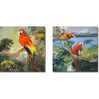 Jane Slivka 'Parrots at Bay I and II' 2-piece Canvas Art Set