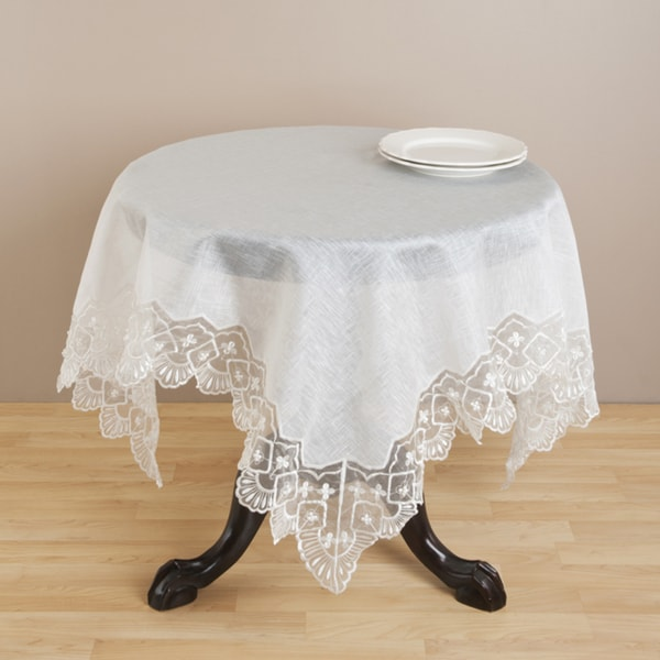 Ivory Embroidered Hand-beaded Tablecloth